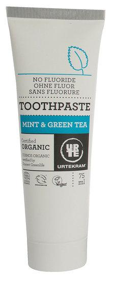 Tandpasta zonder Fluor Groene Thee en Mint (Urtekram) 75 ml