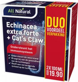 All Natural Echinacea Extra Forte + Cat's Claw 100ml Duo verpakking